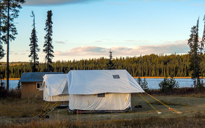 Wall tents and cabin at our Kakwa grizzly bear project campsite in the rocky mountains of B.C. (Photo: Scott Nielsen)